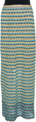 M Missoni Grey Scalloped Textured Knit Maxi Skirt S