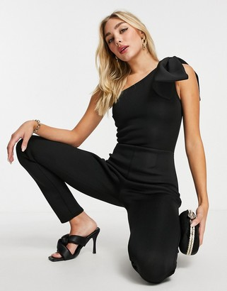 I SAW IT FIRST bow shoulder skinny leg jumpsuit in black