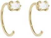 Melissa Joy Manning Grey Baguette Diamond Huggie Hoop Earring