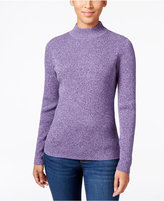 Karen Scott Petite Marled Mock-Neck Sweater, Only at Macy's