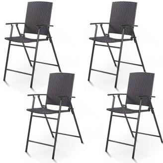 Overstock Costway 4 PCS Folding Rattan Wicker Bar Stool Chair Indoor &Outdoor