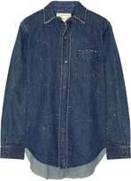 Current/Elliott The Prep School Distressed Denim Shirt - Mid denim