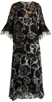 Preen by Thornton Bregazzi Adora pentacle-print devoré silk-blend dress