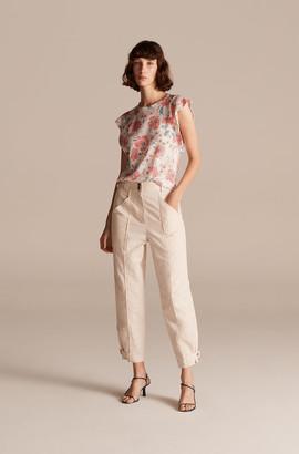 Rebecca Taylor Amelie Fleur Linen Jersey Top
