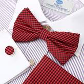 DBC3C03F Dark Red Black Checkered Presents For Graduation Woven Microfiber Pre-tied Bow Tie Hanky Cufflinks Luxury For Business By Dan Smith