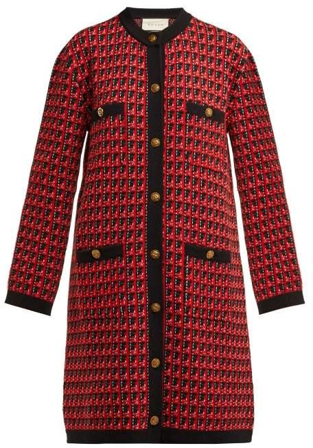 Gucci Jacquard Knit Wool Blend Cardigan - Womens - Black Multi