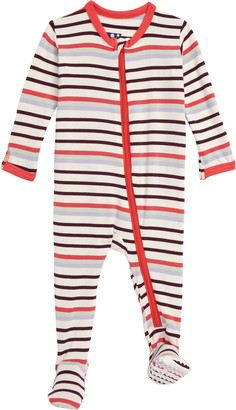 Kickee Pants Stripe Zip Footie