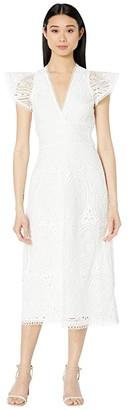 ML Monique Lhuillier Short Sleeve Lace Dress w/ Trim Detail (White) Women's Dress