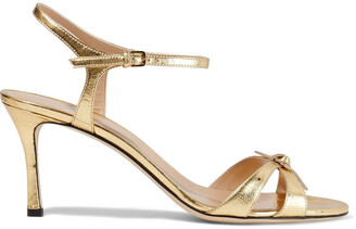 Sergio Rossi Isobel Knotted Metallic Textured-leather Sandals