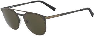Salvatore Ferragamo Men's Two-Tone Metal Sunglasses with Double Bridge