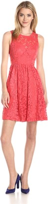 Plenty by Tracy Reese Women's Alana Embroidered Mesh Fit and Flare Dress
