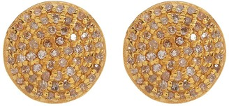 ADORNIA Gold Vermeil White Diamond Pave Round Stud Earrings - 1.00 ctw