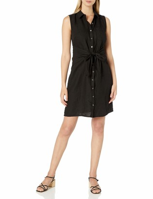 Three Dots Women's Button Up Tie Front Dress