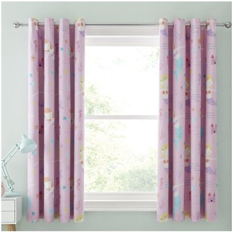 Catherine Lansfield Lets Be Mermaids Black Out Eyelet Curtains