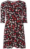 Dorothy Perkins Petite Black And Red Floral Wrap Dress