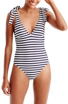 J.Crew Women's Classic Stripe Tie Shoulder One-Piece Swimsuit
