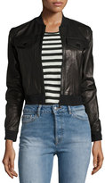 J Brand Jeans Harlow Zip-Front Leather Jacket, Black