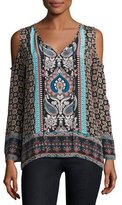 Tolani Claire Cold-Shoulder Printed Top, Multi