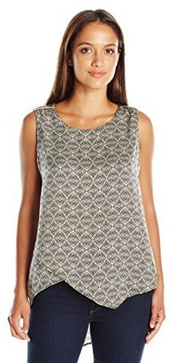 Rafaella Women's Petite Geo Tile Print Hammered Satin Top