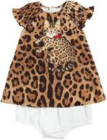 Dolce & Gabbana Cat Cotton Poplin Dress & Diaper Cover