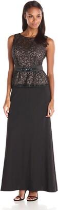 Ignite Women's Lace Peplum Top Over Black Skirt Evening Dress