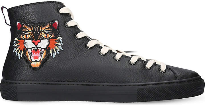 Gucci Appliqué leather high-top trainers