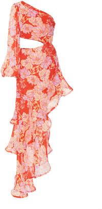 Alexis Sabetta One-Sleeve Cutout Asymmetric Dress