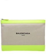 Balenciaga Canvas And Leather Clutch