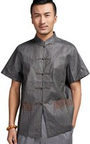 Chickle Men's Chinese Collar Embroidery Short Sleeve Traditional Linen Shirt M Grey
