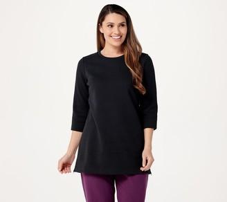 Denim & Co. Active Fleece-Back Jersey Tunic w/ Side Zippers