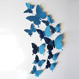 Creazy Wall Stickers Decal Butterflies 3D Mirror Wall Art Home Decors (Blue)