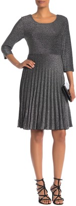 Papillon Metallic Knit Fit & Flare Pleated Dress