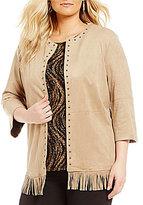Allison Daley Plus Stud Embellished Open Front Faux Suede Jacket