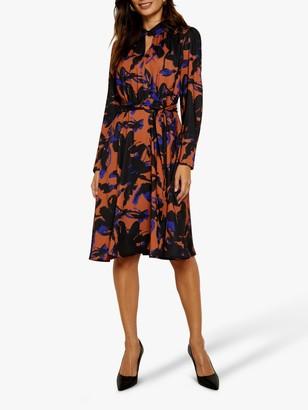 Sosandar Floral Print Belted Fit And Flare Dress, Copper