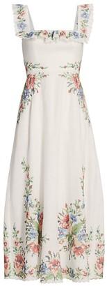 Zimmermann Juliette Pixel Floral Maxi A-Line Dress
