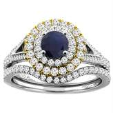 Sabrina Silver 14K White Gold Diamond Natural HQ Sapphire Halo Engagement Bridal Ring Set Round 5 mm, size 7