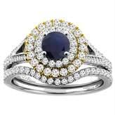 Sabrina Silver 14K White Gold Diamond Natural HQ Sapphire Halo Engagement Bridal Ring Set Round 5 mm, size 8.5