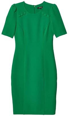 Badgley Mischka Button Shoulder Day Sheath (Palm Green) Women's Clothing