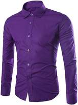 CFD Men's Buttoned Solid-Colored Slim Fit Long Sleeve Dress Shirts M