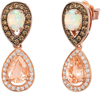 LeVian Le Vian 14K Rose Gold 1.82 Ct. Tw. Diamond & Peach Morganite Earrings