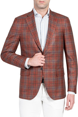 Isaia Men's Plaid Two-Button Jacket