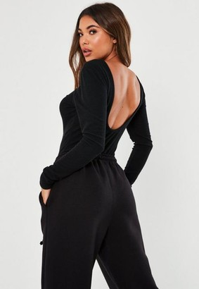 Missguided Black Crinkle Rib Low Scoop Back Long Sleeve Bodysuit