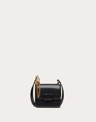 Valentino Micro Vsling Shiny Calfskin Shoulder Bag Women Black Calfskin 100%, Lambskin OneSize