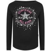 Converse ConverseGirls Black Sequin Logo Print Top