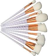 U-beauty® 10PCS White Unicorn Thread Makeup Brushes Set rainbow hair Cosmetic Foundation Eyeshadow Blending Blusher Powder Fan Brush Tools