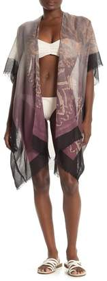 Pool' POOL TO PARTY Short Sleeve Printed Kimono Cover-Up