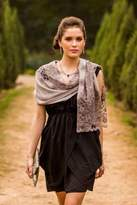 Taupe Grey Wool Blend Shawl Trimmed with Floral Lace, 'Infinite Kashmir'