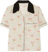 Miu Miu Printed Silk Crepe De Chine Shirt - Ivory