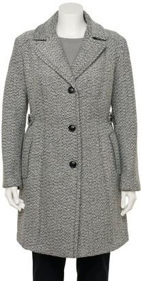Gallery Plus Size Tweed Wool Dress Coat