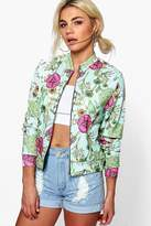 boohoo Lacey Floral Jersey Bomber blue